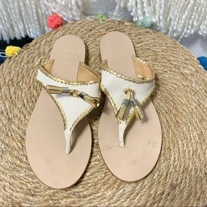 ALANA SANDAL IN BONE AND GOLD BY JACK ROGERS